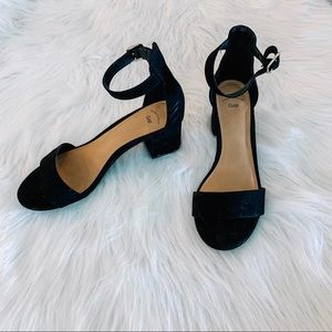 GAP Black Suede Block Heel Sandal